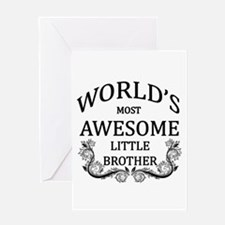 World's Most Awesome Little Brother Greeting Card