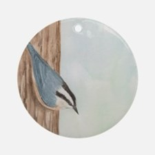 Nuthatch Sticky Note Round Ornament