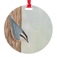 Nuthatch Sticky Note Round Ornament
