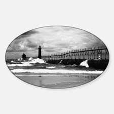 Lake Michigan Dark Sticker (Oval)