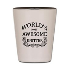 World's Most Awesome Knitter Shot Glass