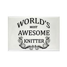 World's Most Awesome Knitter Rectangle Magnet