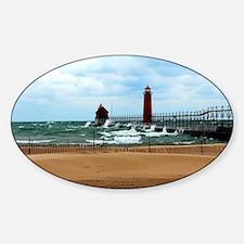 Lake Michigan Beach Sticker (Oval)