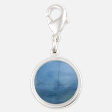 Ship in the fog Silver Round Charm