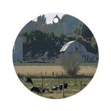 Cows in country Round Ornament