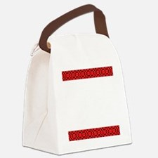 Chic Red Black Designer Canvas Lunch Bag