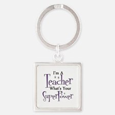 super teacher Square Keychain