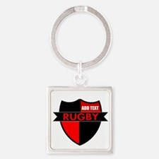 Rugby Shield Black Red Keychains