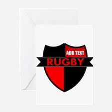 Rugby Shield Black Red Greeting Cards