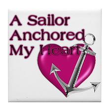 A Sailor Anchored My Heart Tile Coaster