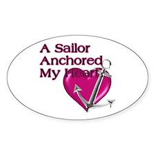 A Sailor Anchored My Heart Oval Decal