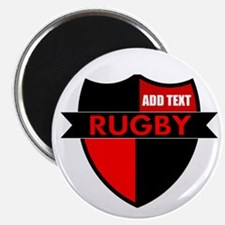 Rugby Shield Black Red Magnets