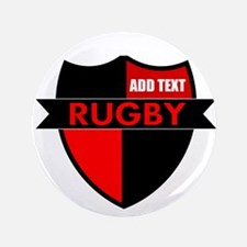 """Rugby Shield Black Red 3.5"""" Button"""