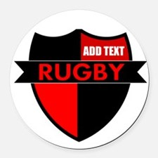 Rugby Shield Black Red Round Car Magnet