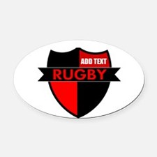 Rugby Shield Black Red Oval Car Magnet