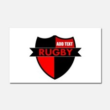 Rugby Shield Black Red Car Magnet 20 x 12