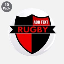 """Rugby Shield Black Red 3.5"""" Button (10 pack)"""