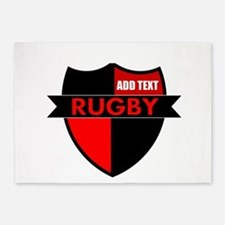 Rugby Shield Black Red 5'x7'Area Rug