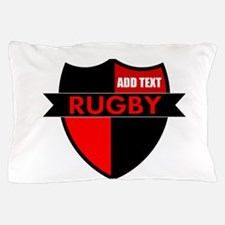Rugby Shield Black Red Pillow Case