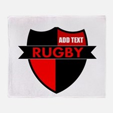 Rugby Shield Black Red Throw Blanket
