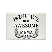 World's Most Awesome Mema Rectangle Magnet