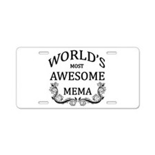 World's Most Awesome Mema Aluminum License Plate