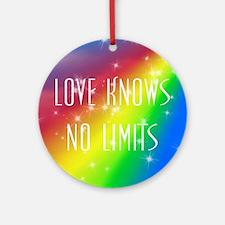 Rainbow Love Knows No Limits Round Ornament