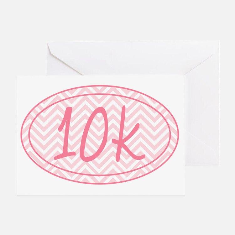10k Pink Chevron Greeting Card