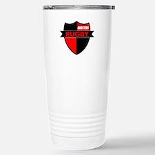 Rugby Shield Black Red Travel Mug