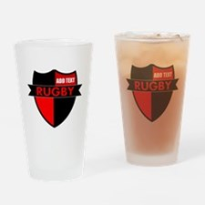 Rugby Shield Black Red Drinking Glass