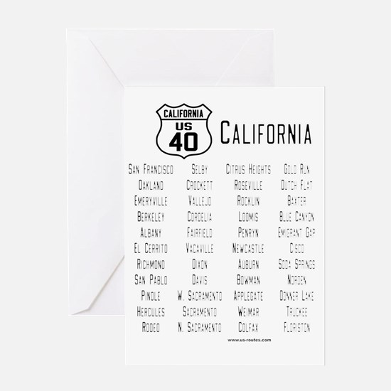US Route 40 California cities Greeting Card