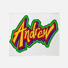 Andrew Graffiti Letters Name Design Throw Blanket