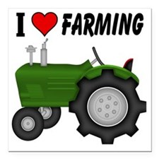 "I  Love (Heart) Farming Square Car Magnet 3"" x 3"""
