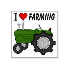 """I  Love (Heart) Farming Square Sticker 3"""" x 3"""""""