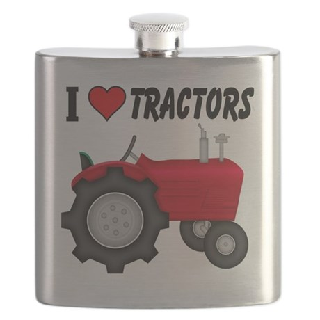 I Love (Heart) Tractors Flask