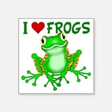 "I  Love (Heart) Frogs Square Sticker 3"" x 3"""