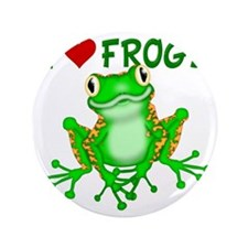 "I  Love (Heart) Frogs 3.5"" Button"