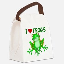 I  Love (Heart) Frogs Canvas Lunch Bag