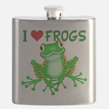 I  Love (Heart) Frogs Flask