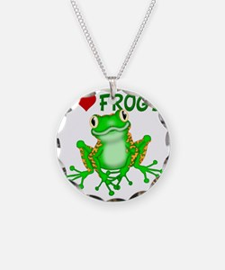I  Love (Heart) Frogs Necklace