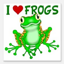 "I  Love (Heart) Frogs Square Car Magnet 3"" x 3"""