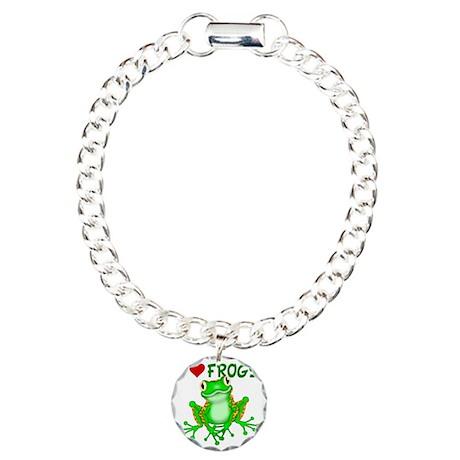 I Love (Heart) Frogs Charm Bracelet, One Charm