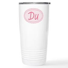 Pink Chevron Duathlon Travel Coffee Mug