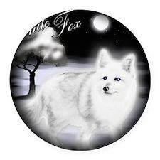 White Fox copy Round Car Magnet