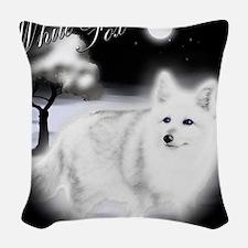 White Fox copy Woven Throw Pillow