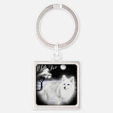 White Fox copy Square Keychain