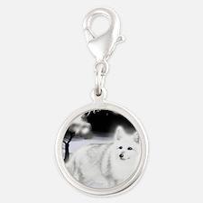 White Fox copy Silver Round Charm