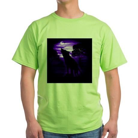 Wolf Howling copy Green T-Shirt
