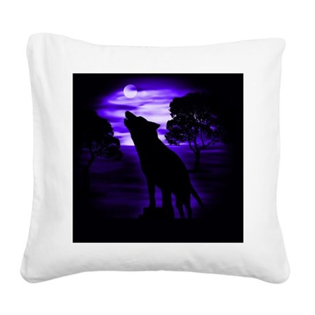 Wolf Howling copy Square Canvas Pillow