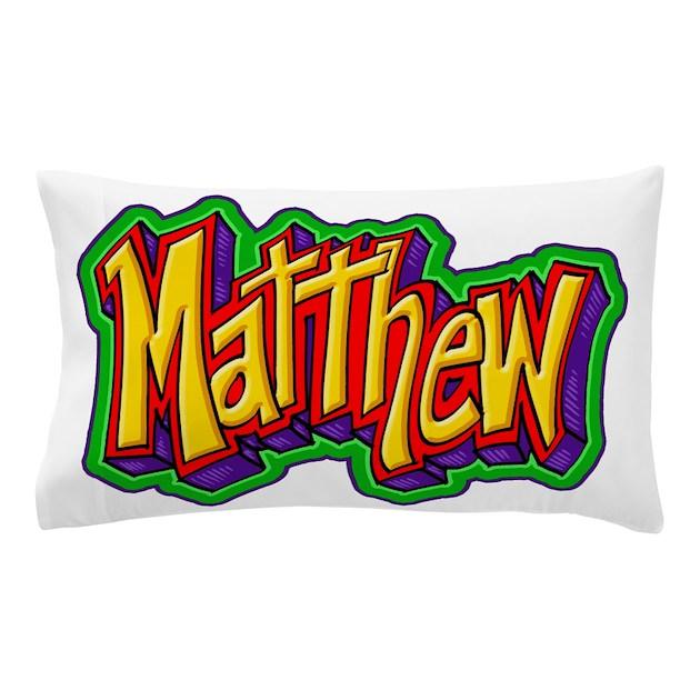Matthew Graffiti Letters Name Design Pillow Case By Admin